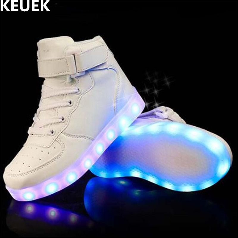 New Spring/Autumn Children Sports Shoes Boys Girls Glowing Sneakers Light Shoes LED Baby USB Charging Kids Luminous Shoes 018