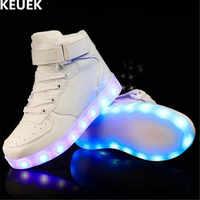 新しい春/秋子供スポーツ靴男の子女の子光るスニーカーライト靴led赤ちゃんusb充電子供発光靴018