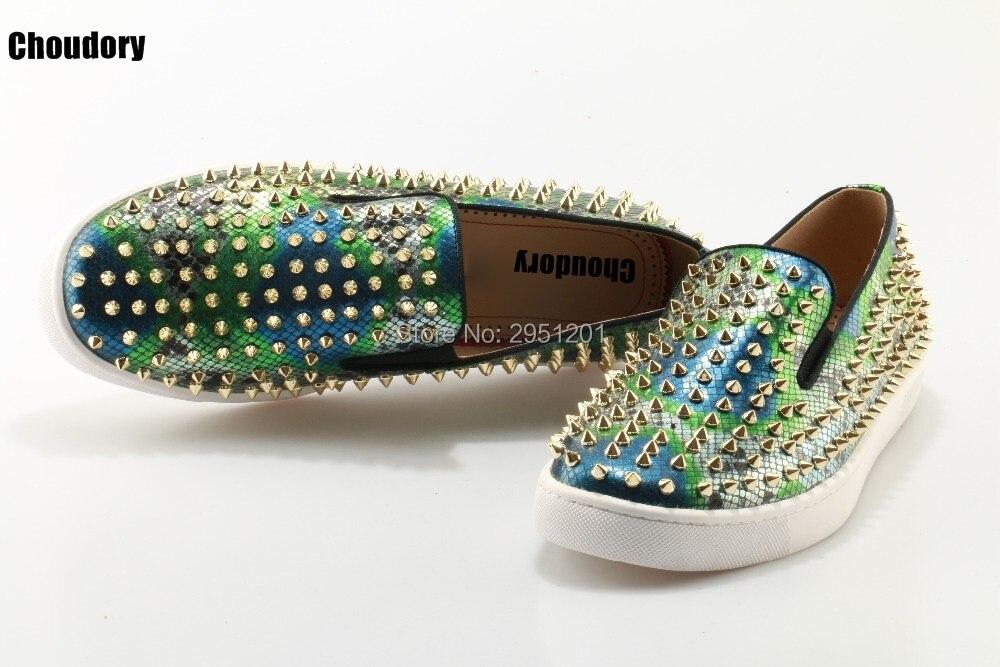 2019 Роскошные брендовые лоферы из змеиной кожи; Choudory; повседневные лоферы; Разноцветные слипоны на плоской подошве; кожаная обувь на платформе - 6