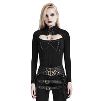 Gothic Women punk T shirt matt PU leather High collar design adjustable the dgree of loose and tight Sexy Fashion T shirt