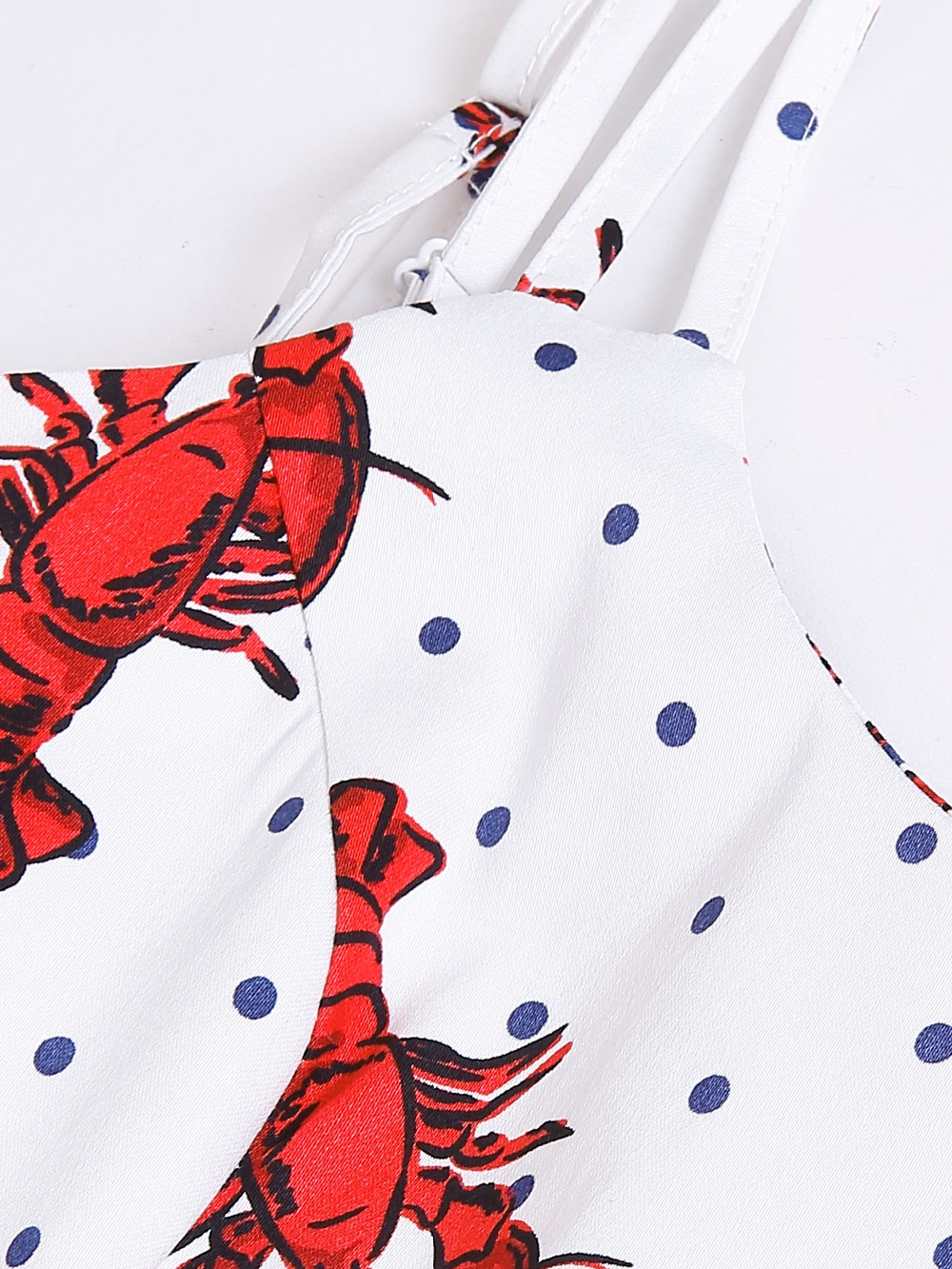 30 summer women vintage 50s pinup lobster polka dot print pleated ... 3f6722e79508