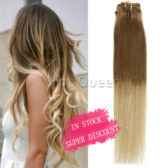 6a Grade Blonde Brazilian Straight Ombre Clip In Human Hair