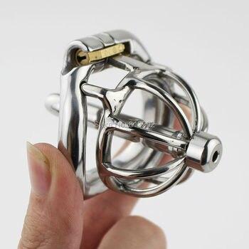 De acero inoxidable de bloqueo invisible hombre Dispositivo de Castidad con catéter Polla jaula pene bloqueo anillo cinturón de castidad.
