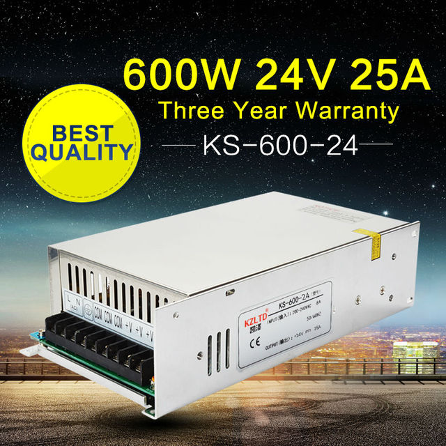 Switching Power Supply 24V 25A 600W AC to DC Power Supply 24V LED Power Supply Power Source for Monitor LED String Ribbon CCTV