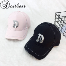 Doitbest Korean Women Rhinestone D letter Baseball Cap men's Summer Sun Hat big Boys Girls snapback Caps suit for Teens Lovers a suit of gorgeous fake pearl rhinestone hollow out flower necklace and earrings for women