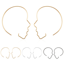 LNRRABC 2018 new Fashion Exaggerated jewelry face silhouette hollow ladies alloy hoop earrings for women brinco Golden Silver