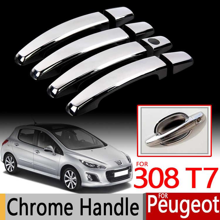 HZHAOWEI Chrome Handles Cover Trim,for Peugeot 308 T7 308SW SW CC RCZ 2008~2013 Car Accessories Stickers Auto Styling 2009 2010 2011 2012