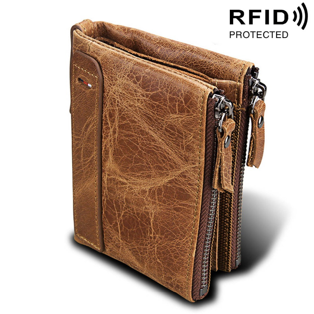 Genuine Cow Leather Men Wallets RFID Double Zipper Card Holder High Quality Male Wallets Purse Vintage Coin Holder Men Wallets rfid theft protect dollar price men wallets famous brand with coin pocket purse card holder zipper genuine cow leather wallets