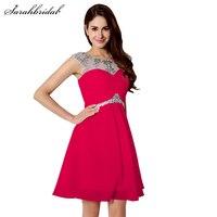 W Magazynie Fioletowy/Czerwony/Mint Kryształ Szyfonowa Formalna Homecoming Suknie Elegancka Linia Krótki Prom Dress Vestido De Festa SLD218