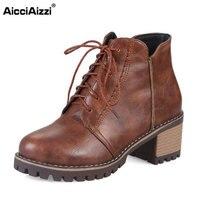AicciAizzi פלטפורמת בוהן עגול נשים מגפי קרסול העקב גבוה גברת תחרה חם Footwears פנאי אופנה נשים נעלי גודל 33-43