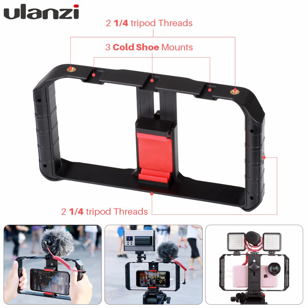 Ulanzi Smartphone Handle Rig Triple Hot Shoe Mounts Video Stablizer Vlog Grip for iPhone Mobile Filmmaker for by-mm1 microphone u grip video action stabilizing handle grip rig set with by mm1 videomicro phone led on camera light for iphone canon nikon