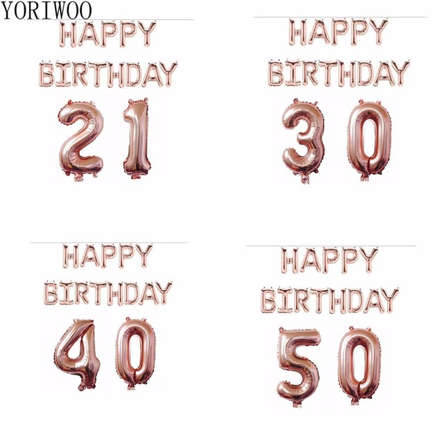 YORIWOO Rose Gold Foil Balloons 21st 30th 40th 50th Birthday Party Decorations Happy Balloon Adult 30 40 Supplies