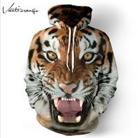 Hoodies Men 2017 Spring Couple Loose 3D Animals Printed Tiger Lion Vivid Hooded Full Sleeve Sweatshirts