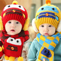 Fast High Quality 2016 Korean Cute Lovely Character Warm Knitted hats+cape Set Children Baby Hat Fashion Kids Cap Autumn&winter