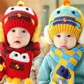 Rápida de Alta Qualidade 2016 Coreano Bonito Adorável Personagem Quente Malha chapéus + capa Conjunto Crianças Chapéu Da Forma Do Bebê Crianças Cap outono & inverno