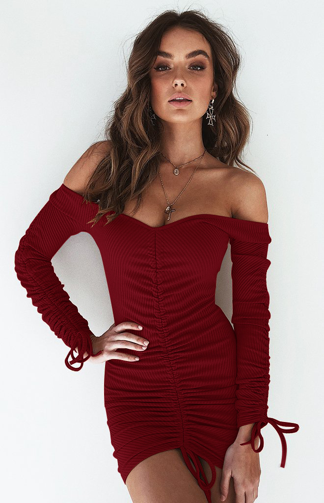Yollmart <font><b>2018</b></font> New <font><b>Sexy</b></font> <font><b>Off</b></font> <font><b>Shoulder</b></font> Women Bandage Dress <font><b>Elegant</b></font> Slash Neck Mini Sheath <font><b>Bodycon</b></font> <font><b>Party</b></font> Dress Drawstring Slim Dress image
