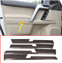 4pcs Black Wood Grain Car ABS Interior Door Decoration Panel Trim For Toyota Land Cruiser Prado FJ150 150 2010-2018 Accessories стоимость