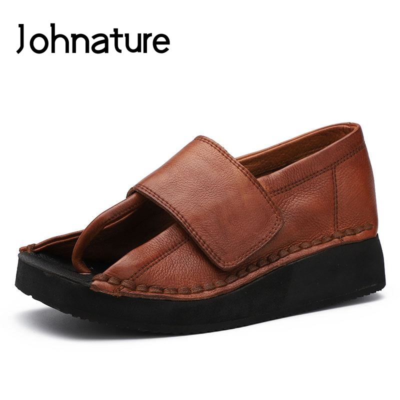 Johnature 2019 Summer New Genuine Leather Retro Casual Solid Hook Loop Lady Shoes Sandals Wedges