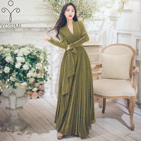 YOSIMI 2018 Autumn Winter Maxi Vintage Long Women Dress Gold Line V neck Evening Party Full Sleeve Female Vestidos Sashes Green