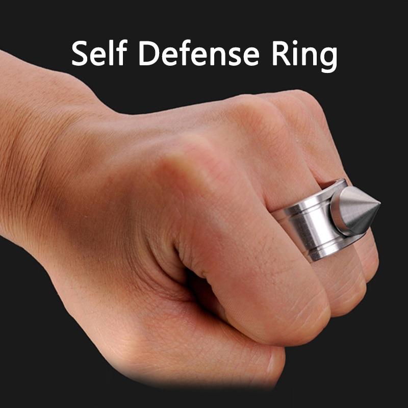 Anel de auto-defesa de aço inoxidável ao ar livre supplie auto-defesa produto armas anel ferramenta de sobrevivência bolso feminino proteger 1