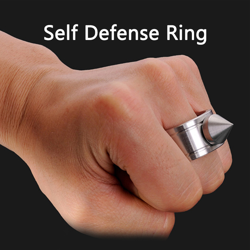 Outdoor Stainless Steel Self defense Ring Supplie Self-defense Product Weapons Ring Survival Tool Pocket Women Protect