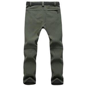 Image 2 - חורף מכנסיים גברים להאריך ימים יותר צמר מעטפת רכה תרמית מכנסיים Mens מזדמן סתיו עבה למתוח עמיד למים צבאי טקטי מכנסיים