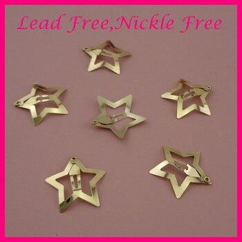 50 Uds 3,0 cm Golden Plain filigrana estrella Metal Snap Clips para niñas horquilla lateral joyas para el cabello artesanales níquel libre de plomo