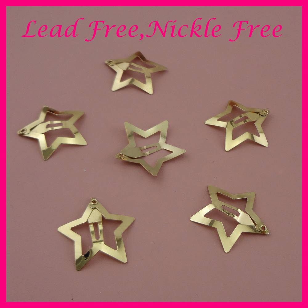 50PCS 3.0cm Golden Plain Filigree Star Metal Snap Clips For Kids Girls Side Hairpins Handmade Hair Jewelry Nickle Free Lead Free