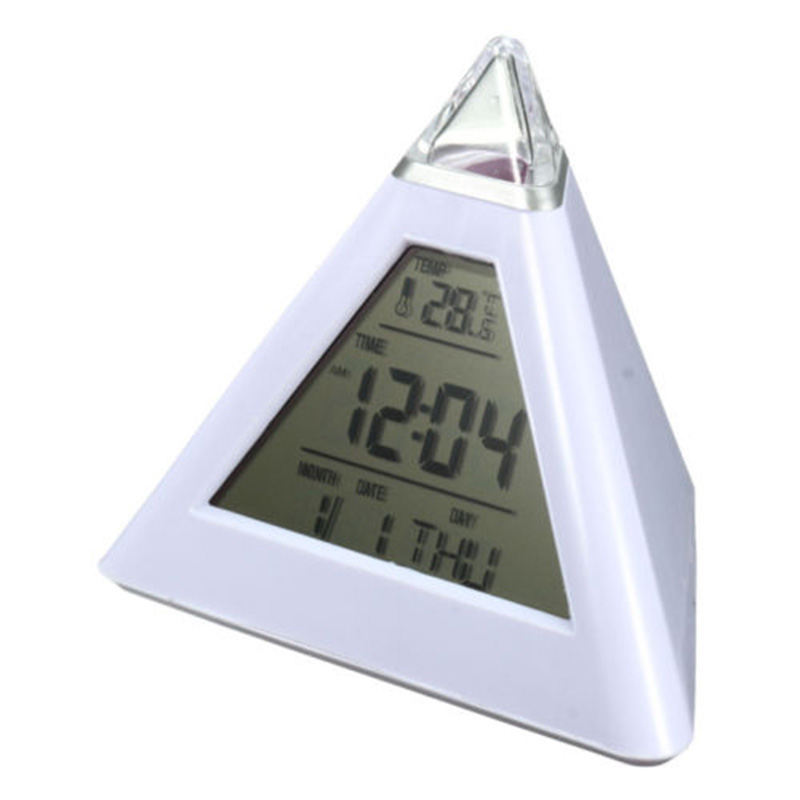 7 Color LED clock Changing Digital Pyramid Alarm Clock Thermometer Lights Desk Bed despertador