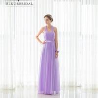2017 Modest Lavender Bridesmaid Dress Floor Length Halter Open Back Robe Demoiselle D'honneur Formal Wedding Guest Dresses
