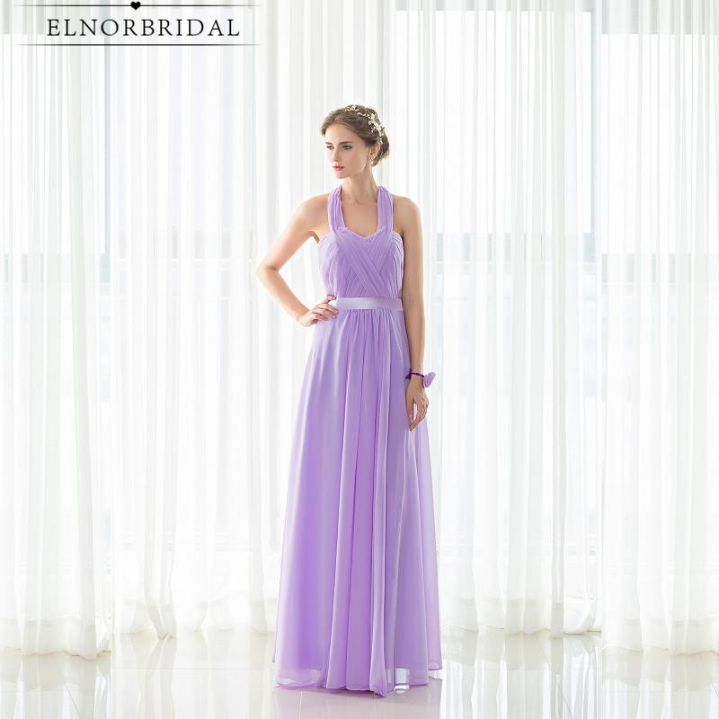 2019 Modest Lavender   Bridesmaid     Dress   Floor Length Halter Open Back Robe Demoiselle D'honneur Formal Wedding Guest   Dresses