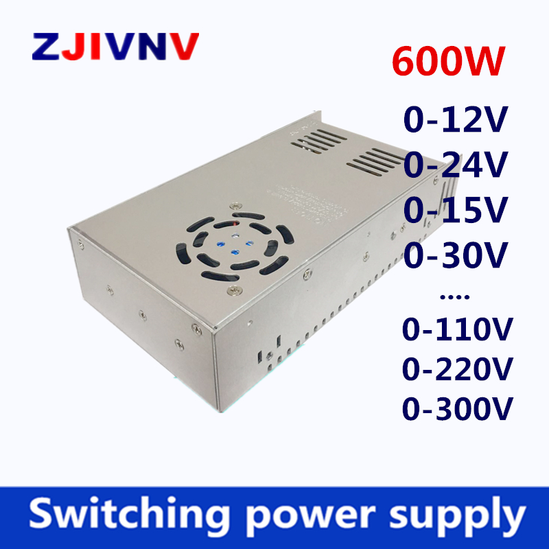switching power supply 600W output 0 12v 15v 27v 30v 24v 36v 48v 50v 60v 72v 80v 110v 220v adjustable AC110V 220V TO DC24V SMPS