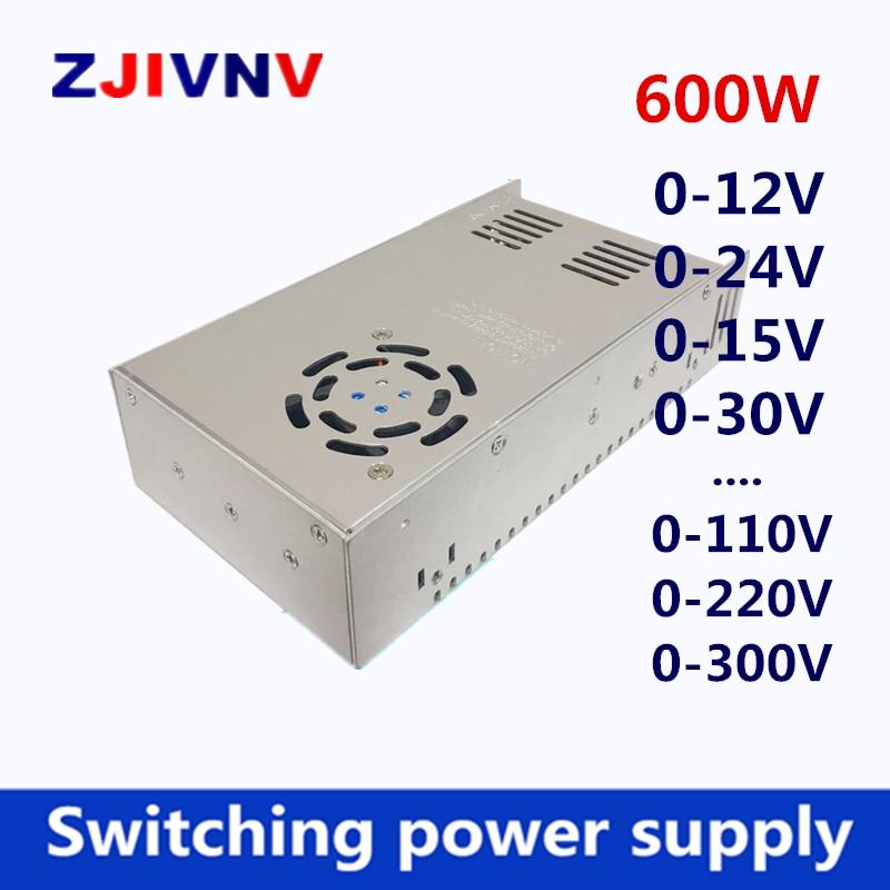 switching power supply 600W output 0-12v 15v 27v 30v 24v 36v 48v 50v 60v 72v 80v 110v 220v adjustable AC110V 220V TO DC24V SMPS 1pcs lot sh b17 50w 220v to 110v 110v to 220v