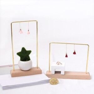 Image 1 - 2 Pcs Wood Base Hanging Ring Holder Metal Jewelry Dangle Earrings Bracelet Organizer Necklace Display Rack