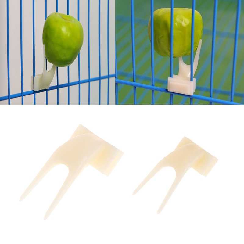 2Pcs Birds Parrots Fruit Fork Pet Supplies Plastic Food Holder Feeding On Cage Pet Supplies
