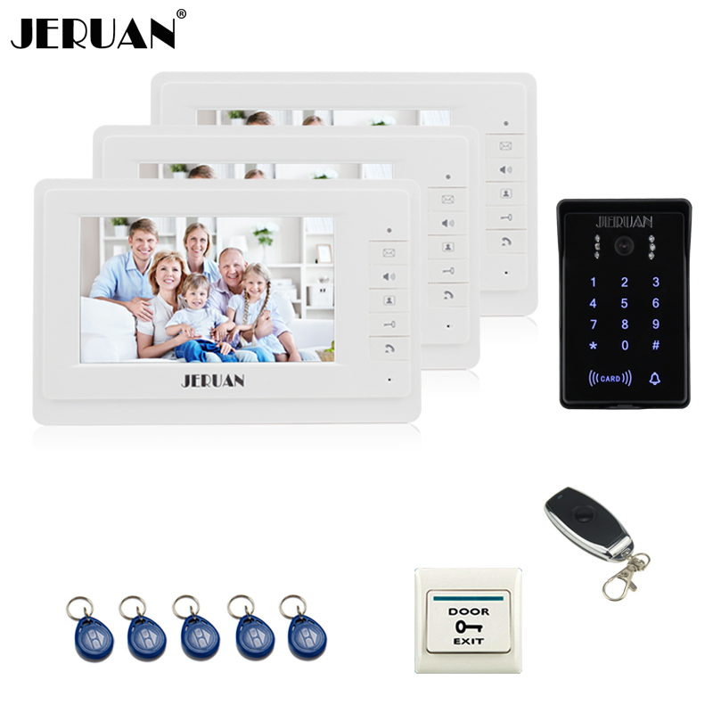JERUAN Wired 7`` LCD video doorphone intercom system 3 White monitor 700TVL RFID waterproof Touch Key password keypad camera jeruan wired 7 touch key video doorphone intercom system kit waterproof touch key password keypad camera 180kg magnetic lock