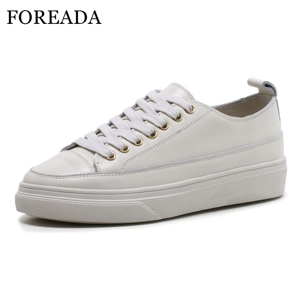 FOREADA Real Leather Flats Shoes Women Natural Genuine Leather Flat Platform Casual Shoes Lace Up Round