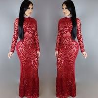 women's Full Sleeve sequin Long Party Gown Formal Vestido dress turtleneck Luxury party club wear sequined dress