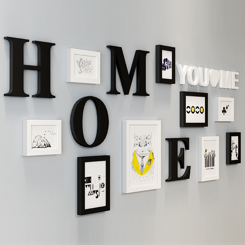 9Pcs Picture Frames With Letters For Home Decor White Black Kits Frames For Pictures Picture Frame