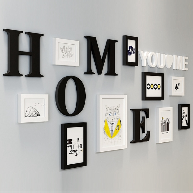 9pcs Picture Frames With Letters For Home Decor White Black Kits