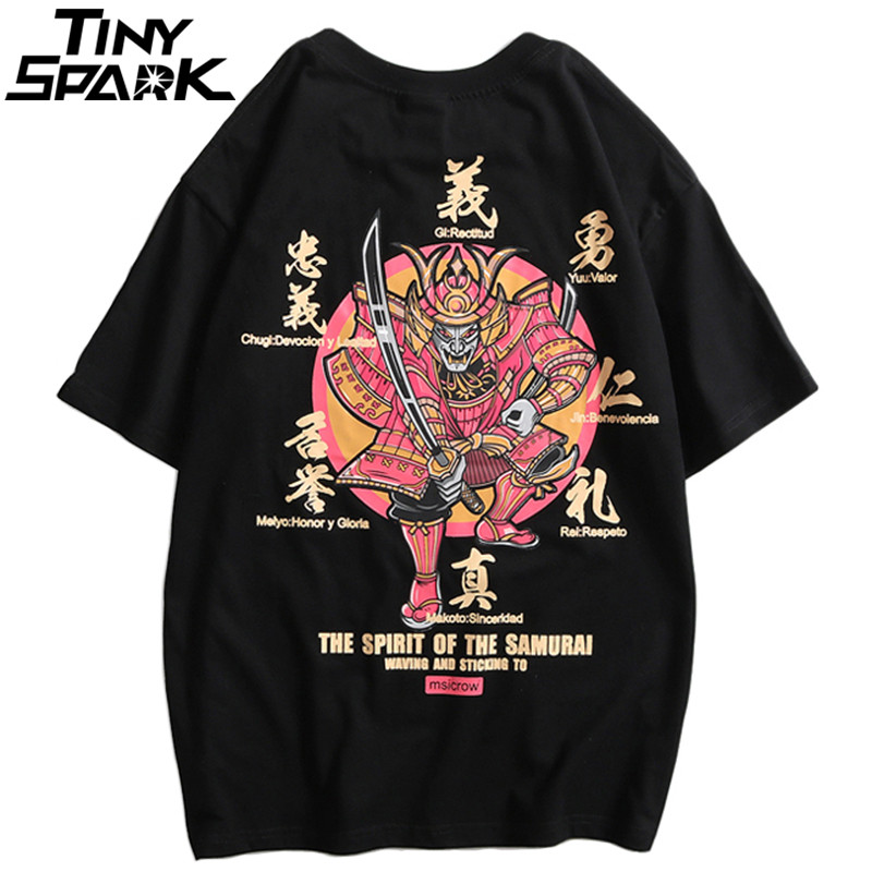 2019 Hip Hop   T  -  Shirt   Men Japanese Samurai Printed Harajuku   T     Shirts   Streetwear Spring Summer Tshirt Short Sleeve Tops Tee HipHop