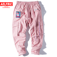Hip Hop Mens Sweat Pants Ribbons Letter Embroidery Multi Pockets Straight Trousers Sweatpants Pink Streetwear Men Pants UR45
