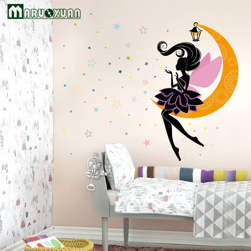 MARUOXUAN Personalized Decals Magical Fairy Moon Star Mural Vinyl Wall Stickers Home Decor For Kids Baby Girls Room Decoration