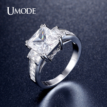 UMODE 2016 New CZ  Three Stone Engagement Rings For Women Brand Fashion Jewelry Rhodium plated Wedding Bands AUR0345