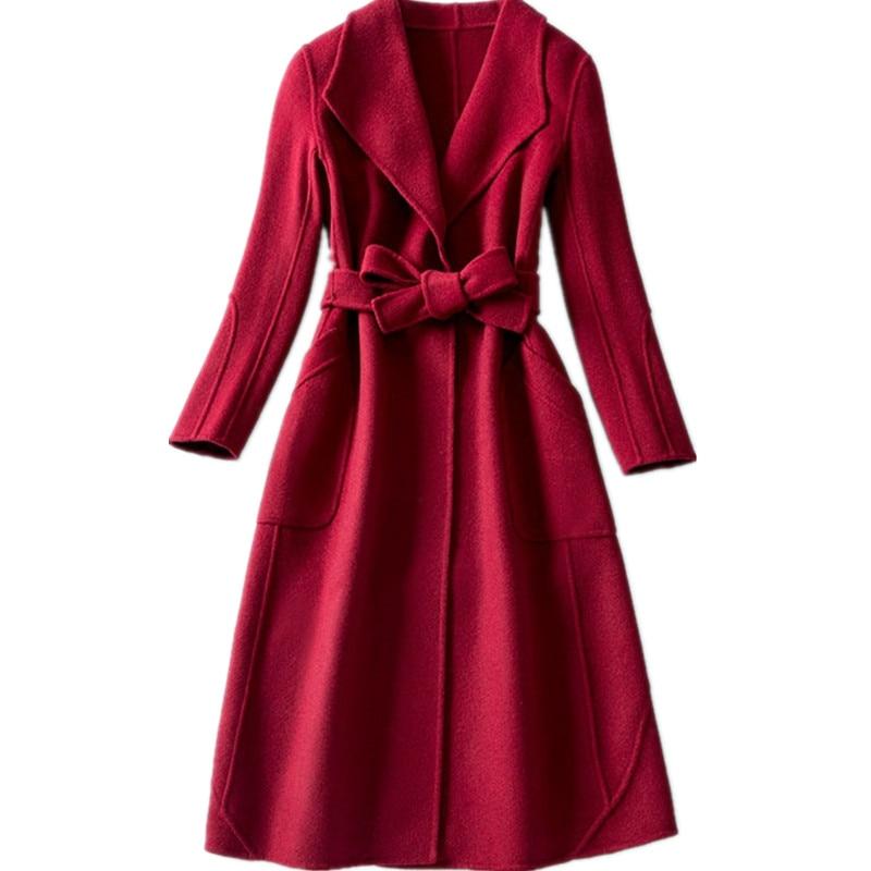 Unie 100 Laine Hh155 claret D'hiver En Kmetram Femme V Green cou Cachemire Double Manteau Chaud Feminino Casaco Face Couleur Femmes 6wqppxSdF