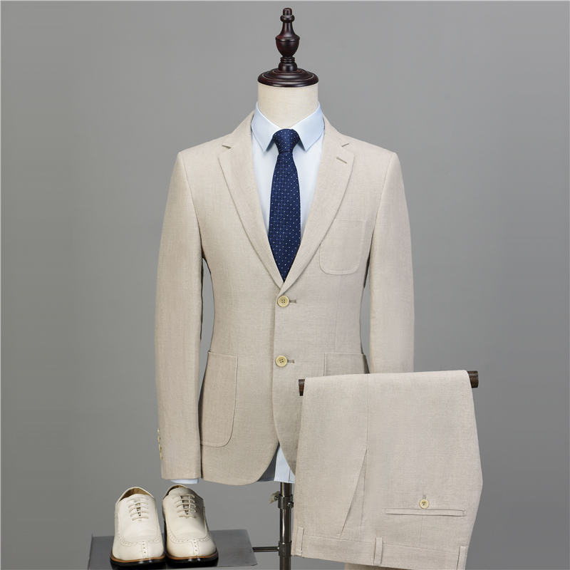 NA54 Latest Coat Pant Designs Ivory Beige Beach Linen Suits Men Wedding Suit Bestman Groomsmen Marriage Tuxedo Custom 2 Pieces