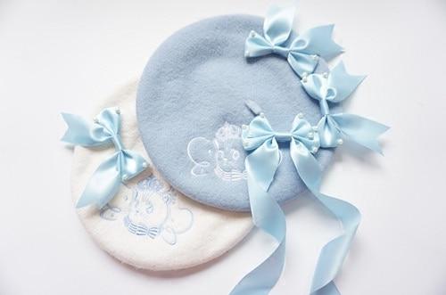 Принцесса сладкий лолита Король кот вышивка Берет Сладкий Бабочки перлы шляпа S-1