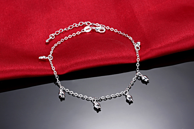 New Fashion Summer Sexy Silver Rose  Anklet for women  Pendant Chain Ankle Bracelet Foot Jewelry 1