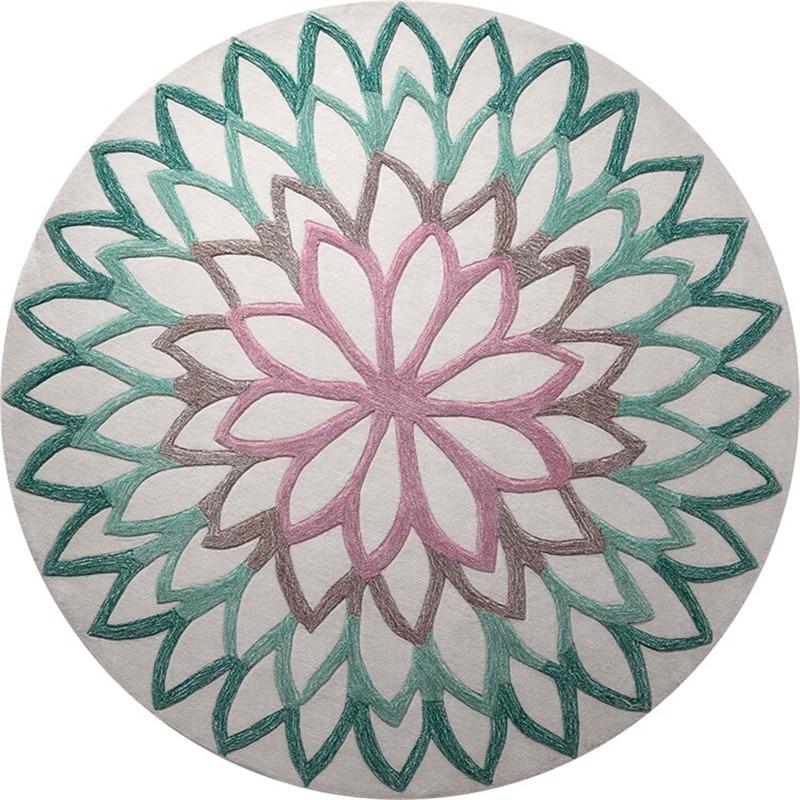 Acrylique ethnique inde Mandala tapis ronds chambre tapis nordique canapé Table basse tapis de mode tapis rond pour salon enfants