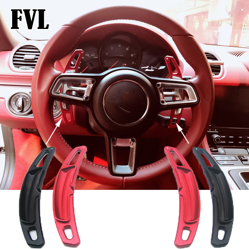 FVL Aluminum Alloy Steering Wheel Shift Paddle Extension Shifters Replacement for Porsche 911 997 996 Panamera Cayenne GTS 2009+ aluminium gear shift steering wheel extension paddle shifter bezel garnish for forester legacy outback xv 2010 2016 car styling